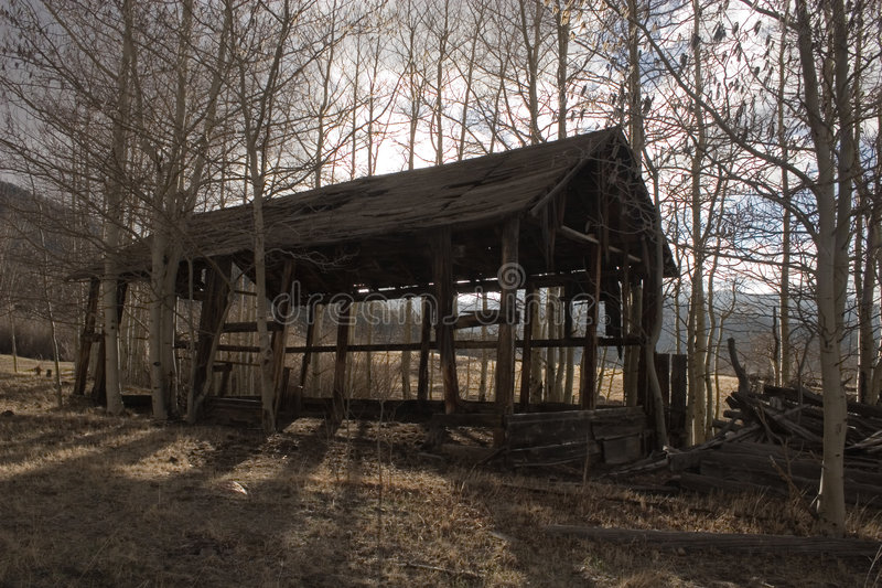 Faling shed stock photo