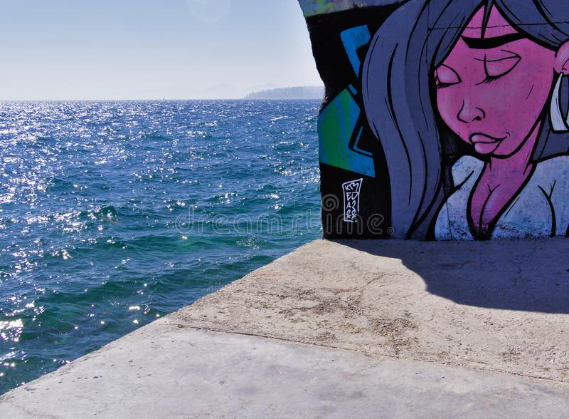 04/29/2019, Faliro, Atenas, Grecia Pintada en la pared imagen de archivo