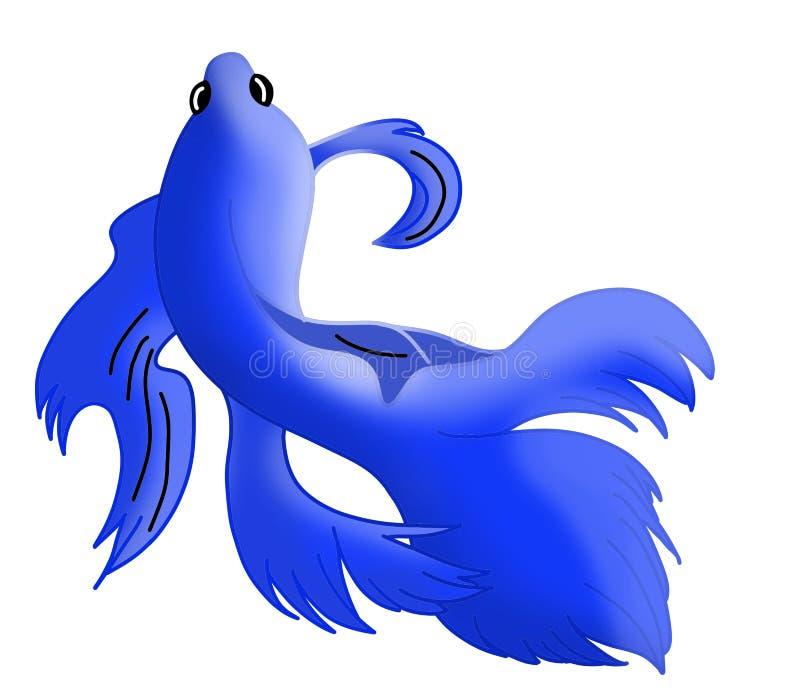 Falista błękit ryba na białym tle ilustracja wektor