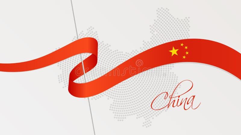 Falista flaga państowowa i promieniowa kropkowana halftone mapa Chiny royalty ilustracja