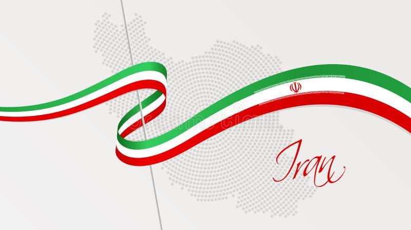 Falista flaga państowowa i promieniowa kropkowana halftone mapa Iran ilustracji