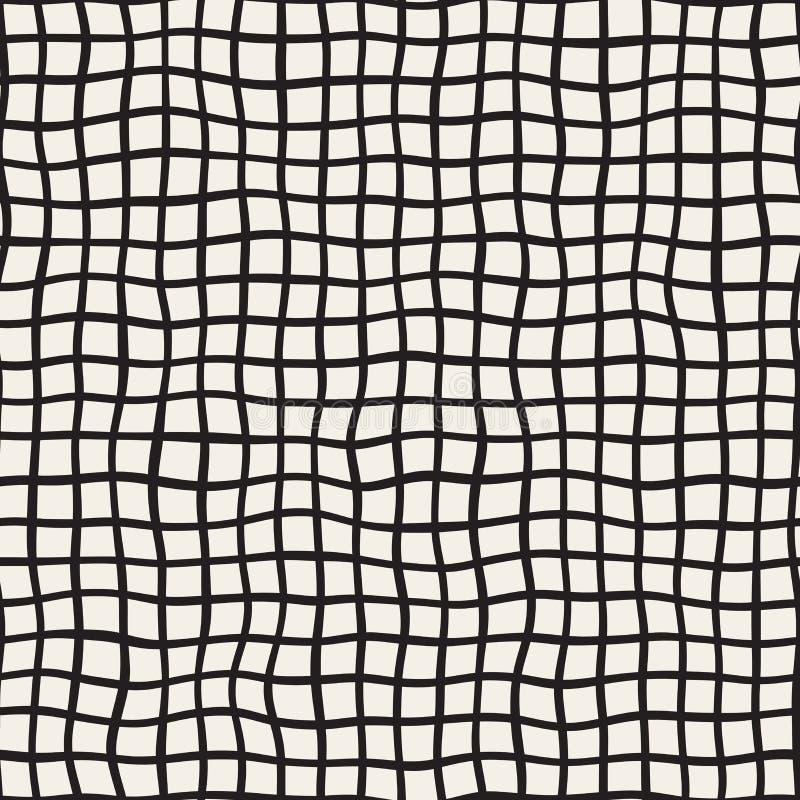 Falista ręka Rysująca linii Kwadratowa siatka czarny deseniowy bezszwowy wektorowy biel ilustracji