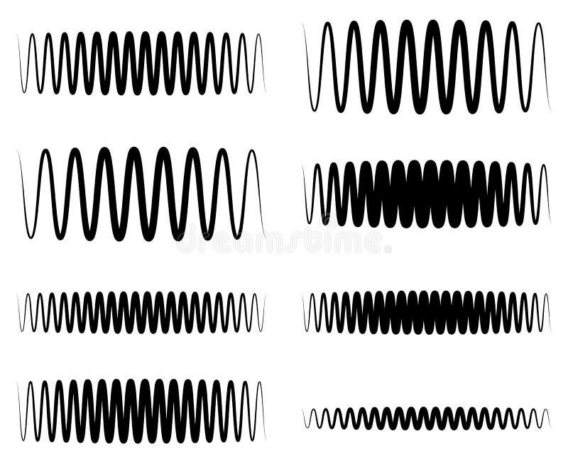 Faliste, zygzakowate EQ wyrównywacza linie, Amplituda, soundwave, częstotliwość ilustracja wektor