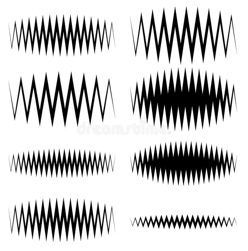 Faliste, zygzakowate EQ wyrównywacza linie, Amplituda, soundwave, częstotliwość royalty ilustracja