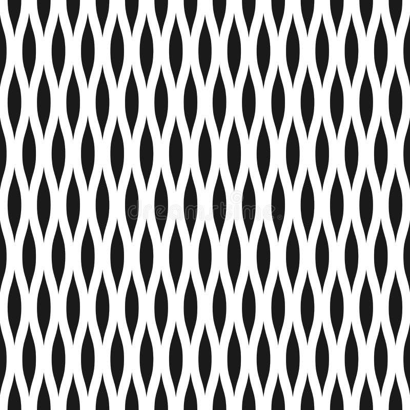 Falisty bezszwowy deseniowy tło w czarny i biały Rocznik i retro abstrakcjonistyczny ornamentacyjny projekt spiky owale lub obiek ilustracji