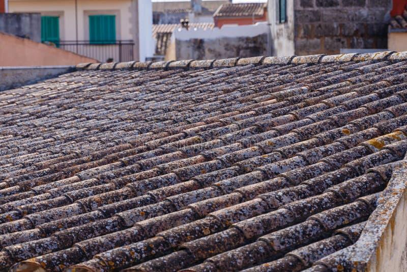 Falisty dachówkowy dach zamknięty w górę zdjęcie stock