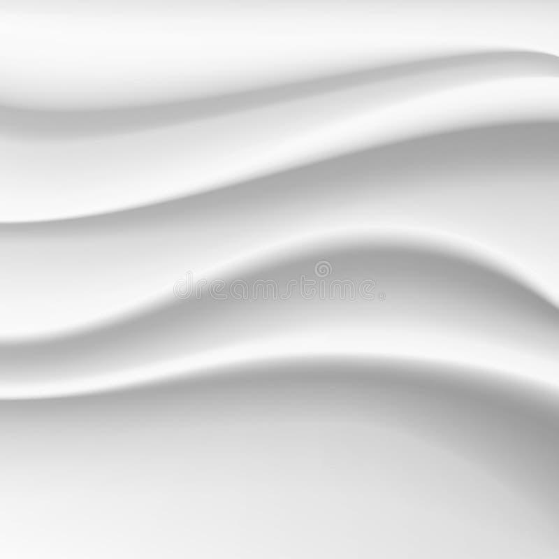 Falisty Jedwabniczy Abstrakcjonistyczny tło wektor Biała Atłasowa Silky Sukienna tkaniny tkanina Drapuje z zagniecenie Falistymi  ilustracja wektor