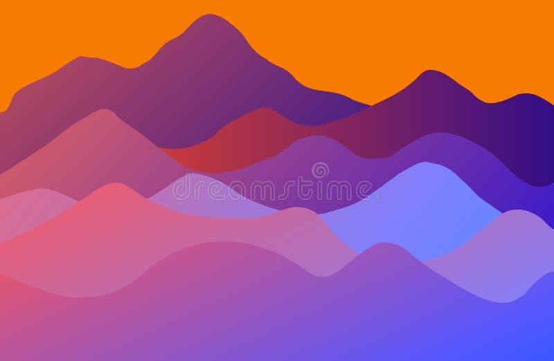 Falisty wydmowy tło z żółtym horyzontem ilustracji