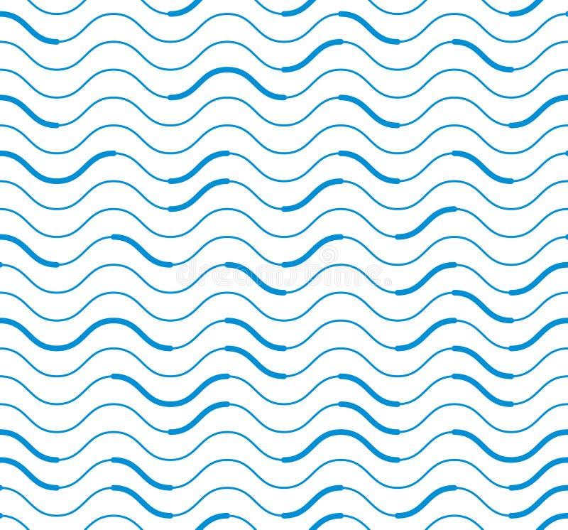 Falistych technicznych linii bezszwowy wzór, wektorowy abstrakcjonistyczny powtórki en royalty ilustracja
