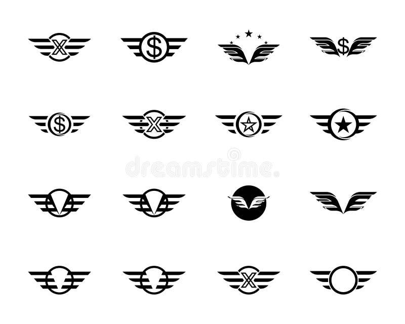 Falke-Wing Logo Template-Vektor lizenzfreie abbildung