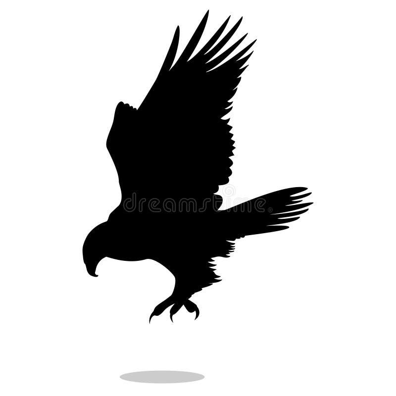 Falkeadlerfalkevogelschwarz-Schattenbildtier lizenzfreie abbildung