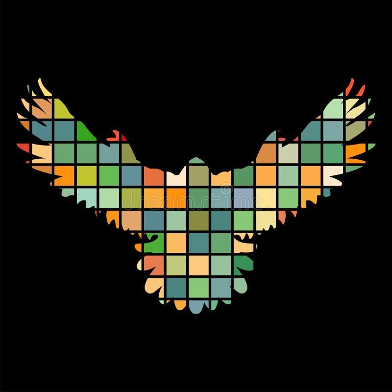 Falkefalkevogelmosaikfarbschattenbildtierhintergrundschwarzes stock abbildung