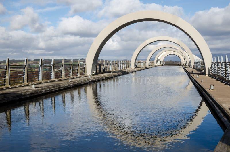 FALKIRK, CENTRAAL GEBIED SCHOTLAND - 2 MAART de hogere kanaalsectie van de Falkirk-Wieltoeristische attractie in Falkirk, Schotlan stock afbeeldingen