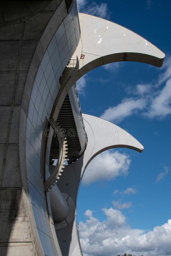 The Falkirk wheel. Falkirk, United Kingdom - August 09 2018: A view of the workings of The Falkirk Wheel mechanical canal lift connecting the Union Canal to the royalty free stock photo
