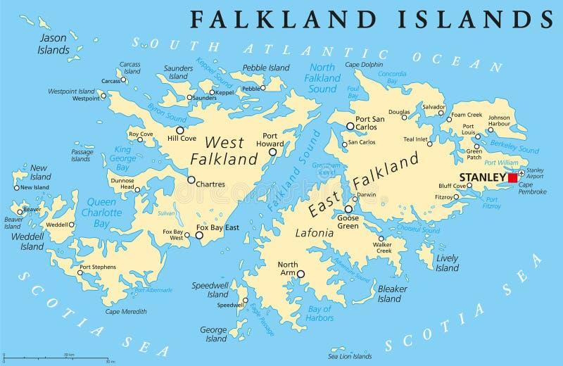 Falkland Island Political Map vektor illustrationer