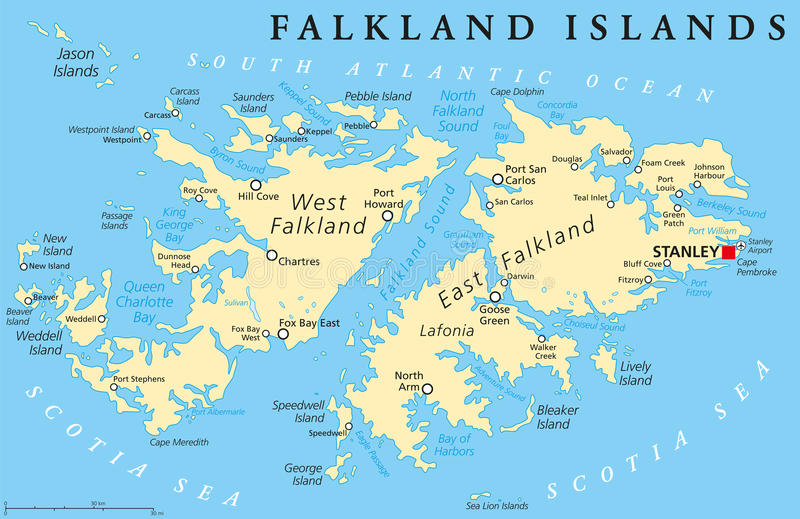 Falkland Island Political Map Stock Vector Illustration of europe