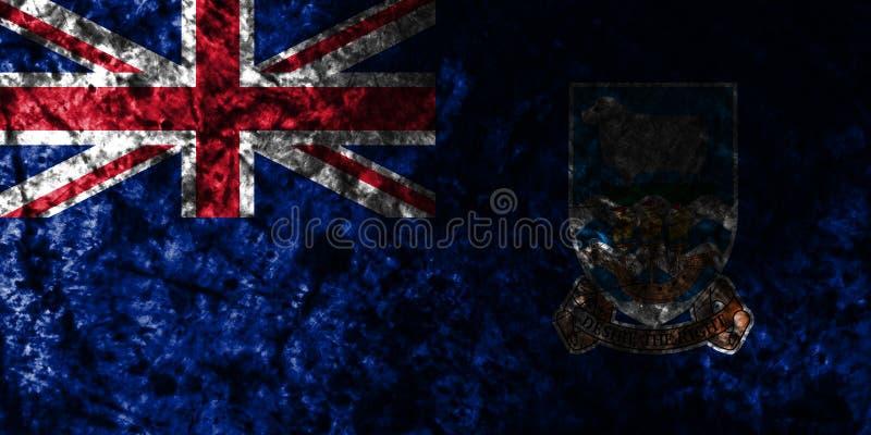 Falkland Islands grungeflagga på den gamla smutsiga väggen, beroende territorium flagga för brittiska utländska territorier, Brit stock illustrationer