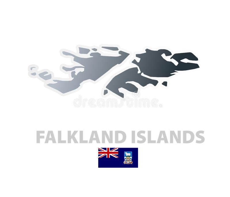 Download Falkland Islands Map With Official Flag Stock Vector - Illustration: 6084893