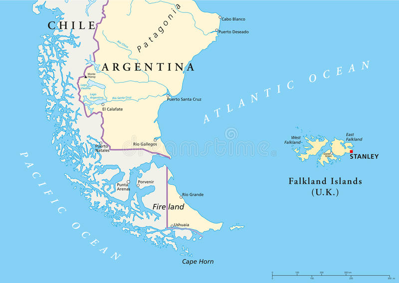 Falkland Islands Policikal Map vector illustratie