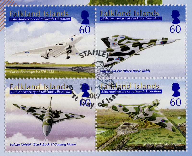 Falkland Islands Postage Stamps - ?a tampa do dia imagens de stock