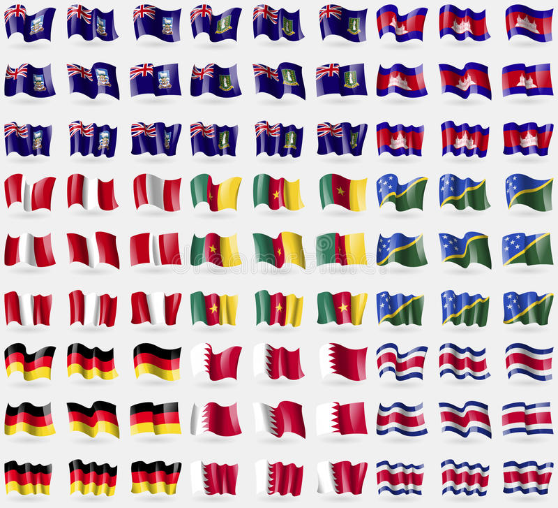 Falkland Islands, VirginIslandsUK, Cambodia, Peru, Cameroon, Solomon Islands, Germany, Bahrain, Costa Rica. Big set of 81 flags. vector illustration