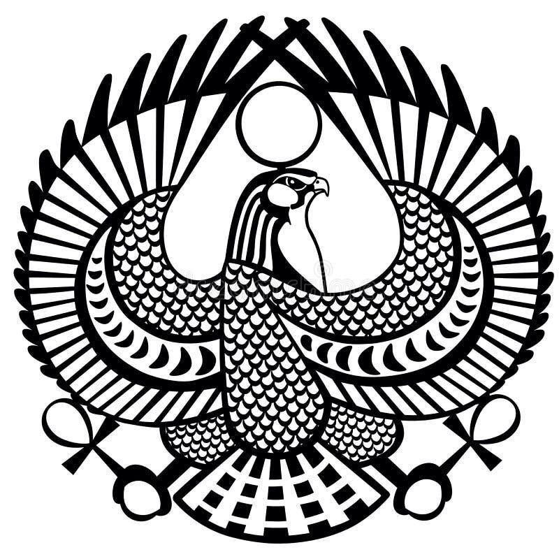 Falksymbol av Horus svartvit royaltyfri illustrationer
