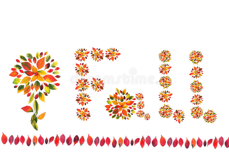 Fall. Decoration made from multicolored autumn leaves, fall background royalty free stock photo