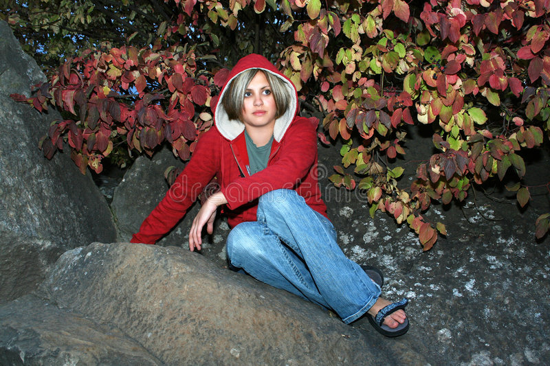 Download Fall stock image. Image of person, rock, casual, hoodie - 3365085