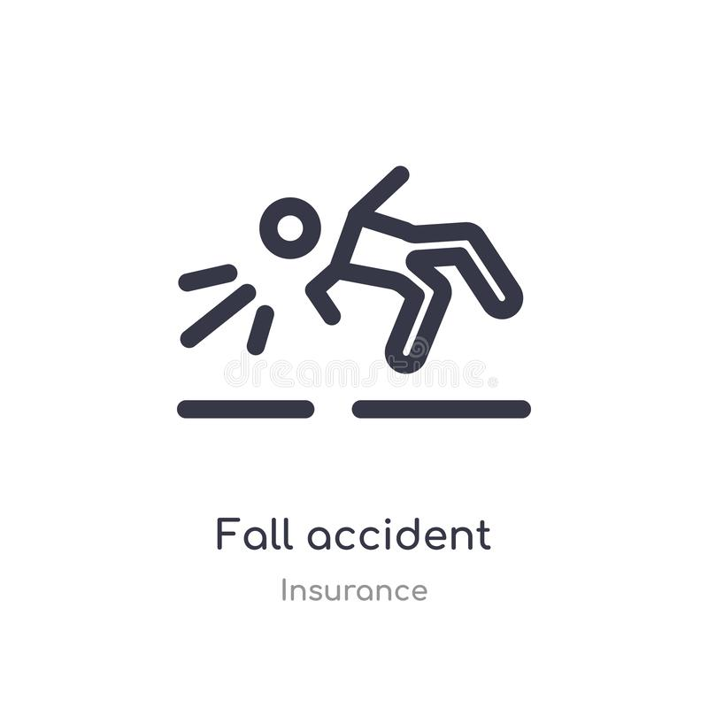 Fall accident outline icon. isolated line vector illustration from insurance collection. editable thin stroke fall accident icon. On white background vector illustration