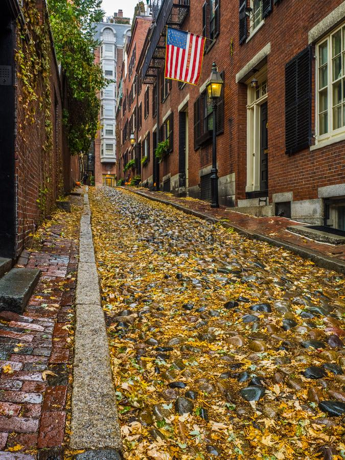 The Fall on Acorn Street ,Boston. Acorn Street in the Beacon Hill District of Boston during the Fall royalty free stock photos