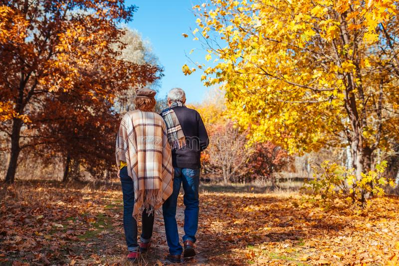 Fall activities. Senior couple walking in autumn park. Middle-aged man and woman hugging and chilling outdoors royalty free stock images