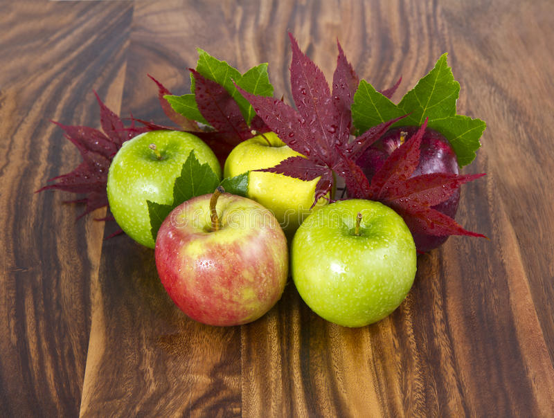 Fall Apples. Fresh fall apples with maple leafs on black walnut board royalty free stock photos