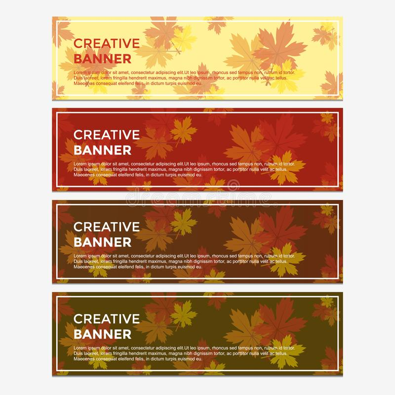 Fall and Autumn Banner Design with Four Colors Background. Vector Illustration. Unique Banner with Red, Orange, and Yellow Maple Clip Art. Vector Editable vector illustration
