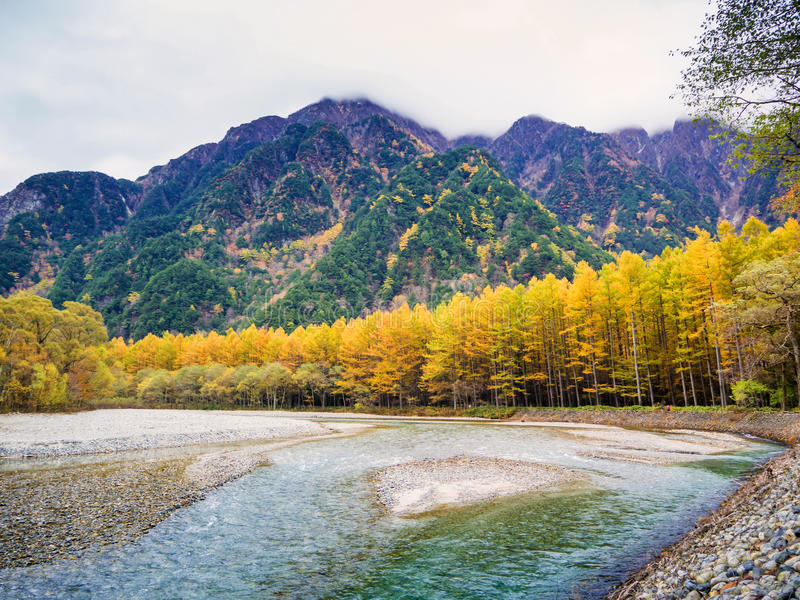 Fall Autumn color of Japan Alps area. At Kamikochi natural park in Matsumoto, Japan stock images