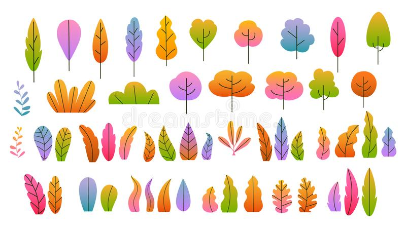 Fall autumn colorful gradient trees bushes leaves royalty free illustration