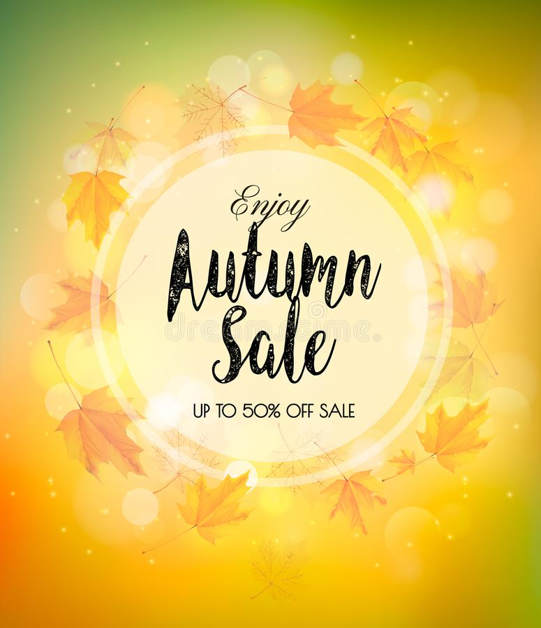 Fall Autumn Colorful Sale Background. Vector royalty free illustration