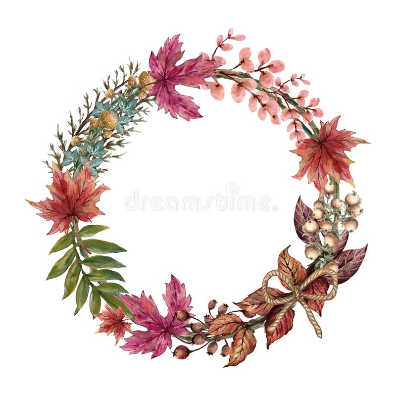 Free Fall Autumn Forest Floral Design Wreath Bouquet Frame Card, Leaves Flower Foliage Seasonal Botanical Garden Watercolor Stock Photography - 191972862