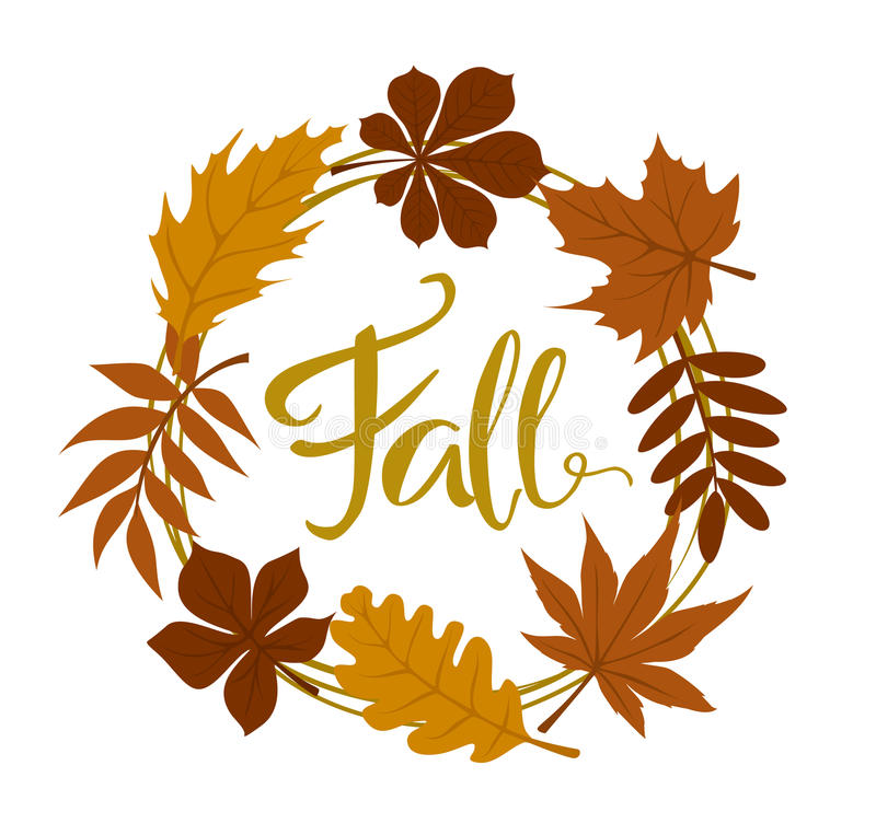 Fall autumn forest leaves wreath. Isolated royalty free illustration