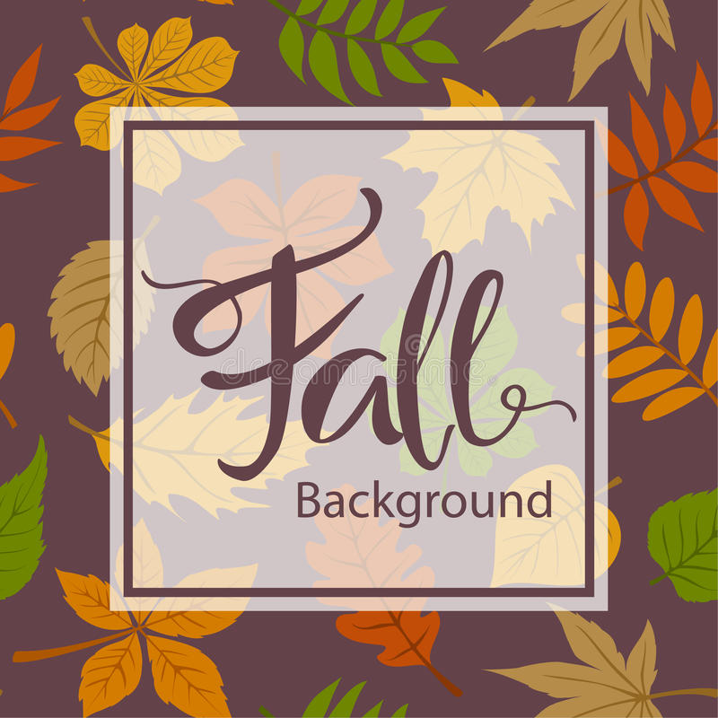 Fall autumn frame border card greeting card background. With hand written lettering vector illustration