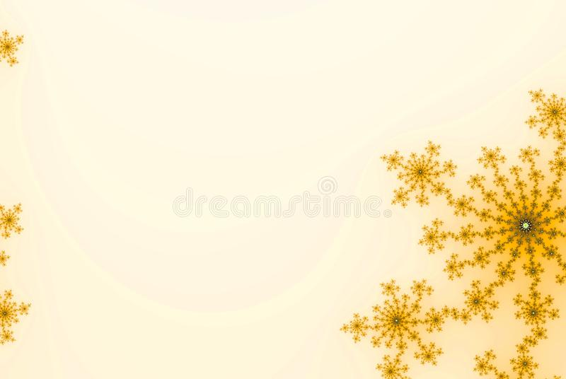 Fall or autumn gold background with abstract snowflakes, flowers or stars for card or invitation with copy space. Fall or autumn gold background with abstract royalty free illustration
