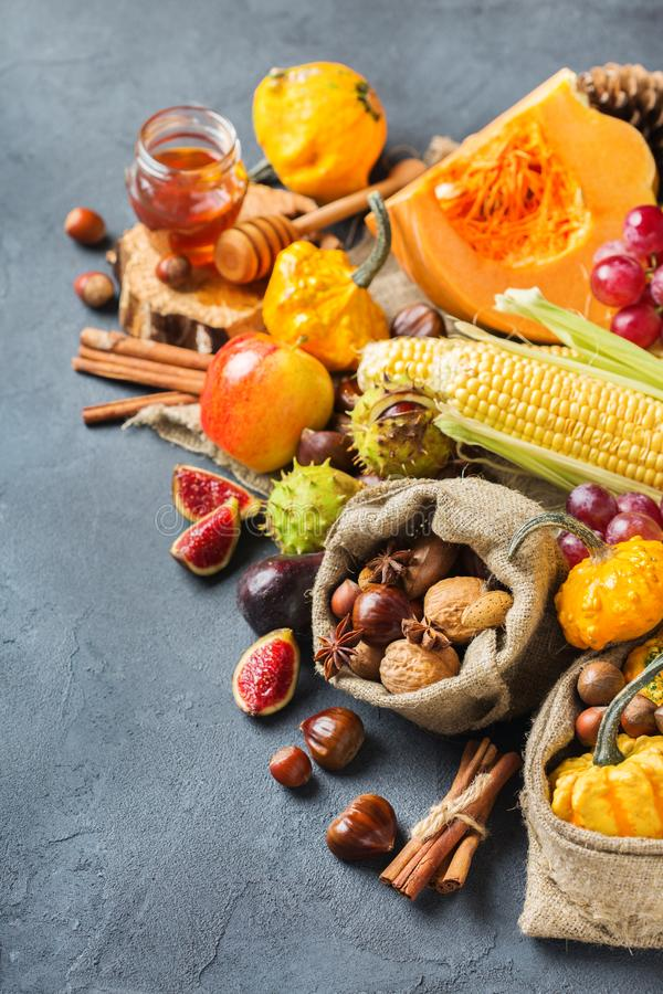 Fall autumn harvest thanksgiving background with pumpkin apple chestnut corn stock images