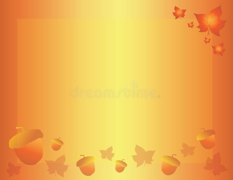 Fall Autumn Leaves and Acorns Background Template. Orange and Yellow Fall Autumn Leaves and Acorns Background Template royalty free illustration