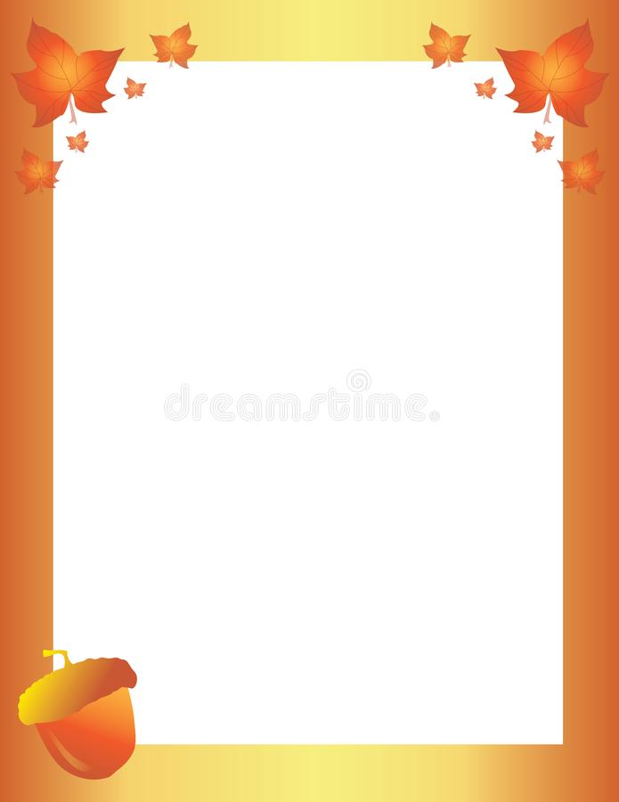 Fall Autumn Leaves and Acorns Border Template. Orange and Yellow Fall Autumn Leaves and Acorns Border Template stock illustration