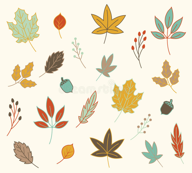 Fall Autumn Leaves Vector Set vector illustration