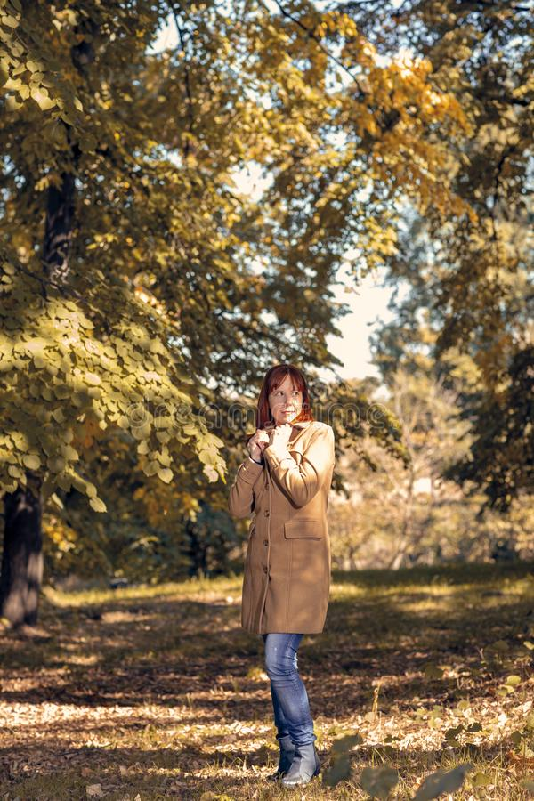 Fall. Autumn Park. Autumnal Trees and Leaves in sun rays. woman enjoying life in the autumn on the nature stock photos