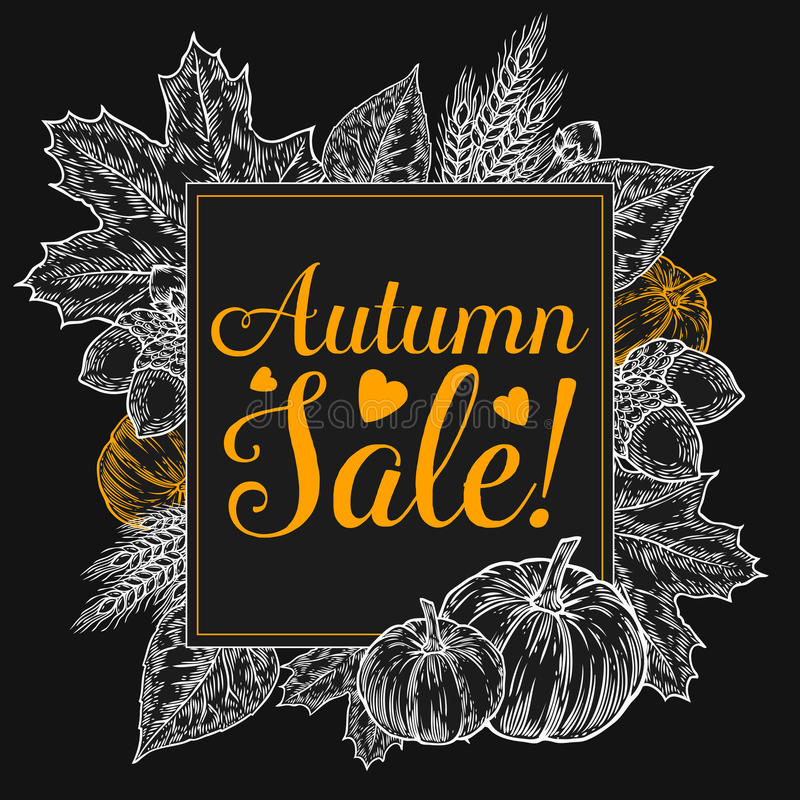Fall autumn sale design. Autumn discount. Vector fall leaves. Vector sale poster. Hand drawn illustration with leaves, acorn royalty free illustration