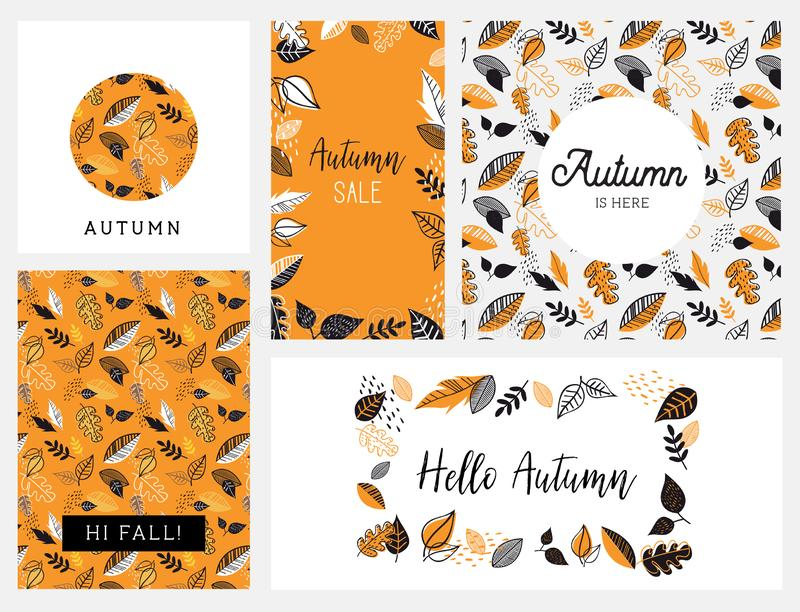 Fall, Autumn season vector illustration, invitation, banner, background set . Vector templates. royalty free illustration