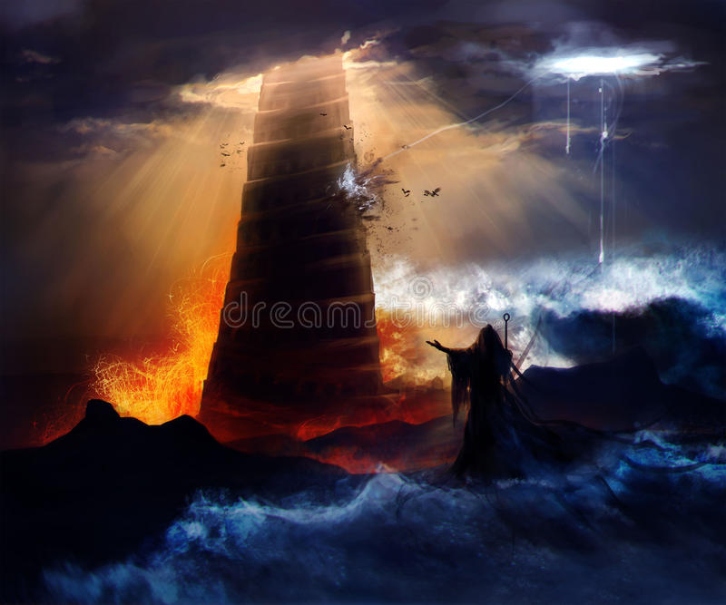 The fall of the Babylon. Sorcerer in hood standing in front of an ancient destructed Babylon tower with flood, fire & hurricane illustration