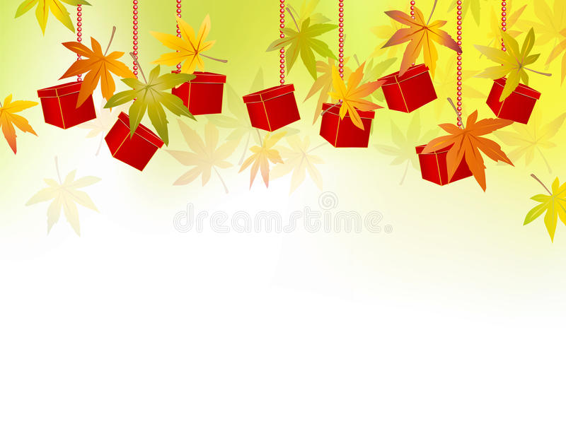 Fall background - autumn leaves - season sale. Autumn sale concept with fall leaves and gift boxes - vector illustration stock illustration
