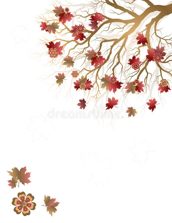 Fall background with colorful tree and falling leaves isolated on white background. Elegant design with copy space. Editable, can be used on brochures, posters royalty free illustration